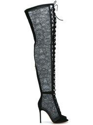 кружевные ботфорты на шнуровке Gianvito Rossi