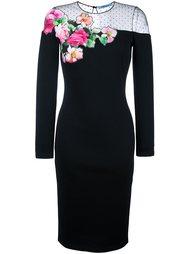 платье миди с цветочной аппликацией Blumarine