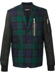 клетчатая куртка-бомбер с контрастными рукавами Dsquared2
