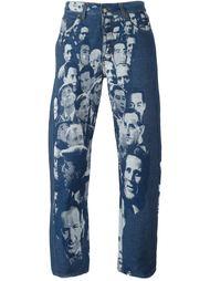 джинсы с жаккардовым принтом лиц Jean Paul Gaultier Vintage