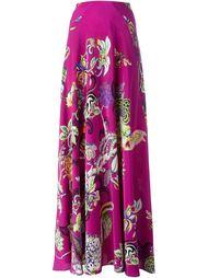длинная юбка с цветочным принтом   Etro