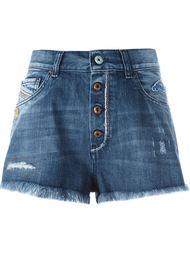 джинсовые шорты с вышитым черепом Diesel
