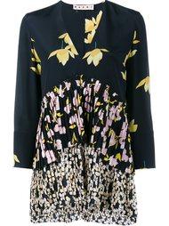 плиссированная блузка с цветочным принтом Marni