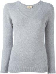пуловер с V-образным свитером с манжетами в рубчик Fay