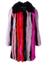 меховое пальто в полоску Versace