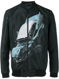 куртка-бомбер с принтом аварии  Christopher Kane