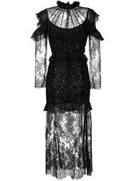 платье с оборками  Alessandra Rich
