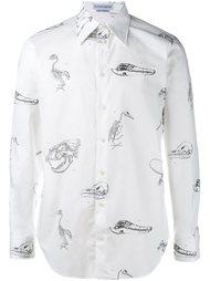 рубашка с принтом скелетов Alexander McQueen