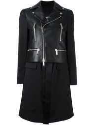 пальто с деталью в виде байкерской куртки Dsquared2