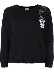свитер с заплаткой в виде дымящегося пистолета Saint Laurent