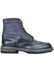 ботинки броги с камуфляжным узором Santoni