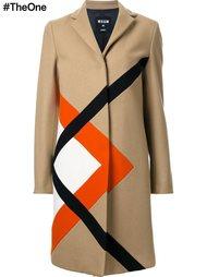 однобортное пальто с графическим принтом MSGM