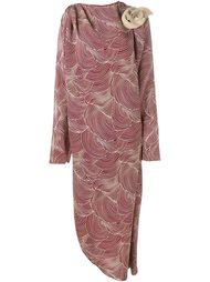 драпированное платье с цветочной аппликацией  A.W.A.K.E