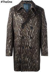 двубортное пальто с леопардовым рисунком Etro