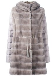 mink fur hooded puffer coat   Liska