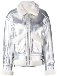 metallic shearling aviator jacket Petar Petrov