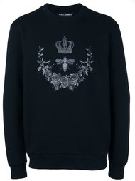 crown & bee embroidered sweatshirt  Dolce & Gabbana
