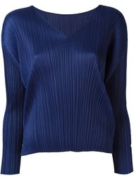 pleated v neck blouse Pleats Please By Issey Miyake