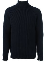 cable knit roll neck jumper Bark