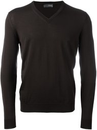 v neck fine knit jumper Drumohr