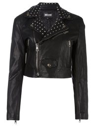 укороченная байкерская куртка с заклепками Just Cavalli