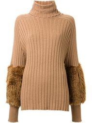 свитер с отворотной горловиной в рубчик Muveil