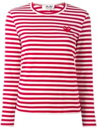 embroidered heart striped T-shirt  Comme Des Garçons Play