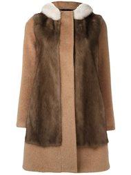 contrast panel coat Blancha