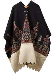 contrast pattern embroidered cape Ermanno Gallamini