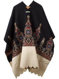 contrast pattern embroidered cape Ermanno Gallamini