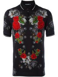 футболка-поло с цветочными заплатками Dolce & Gabbana