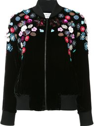 floral appliqué bomber jacket Tanya Taylor