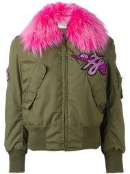 куртка-бомбер с блестящей нашивкой Forte Couture
