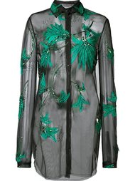 embroidered sheer blouse Monique Lhuillier