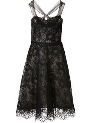 mesh flower lace dress Monique Lhuillier