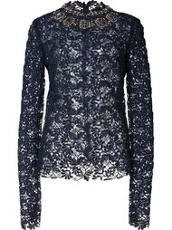 embroidered lace blouse Monique Lhuillier