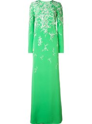 embroidered long sleeved gown Monique Lhuillier