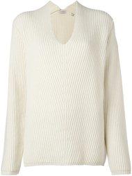 свитер свободного кроя с отделкой в рубчик Moncler