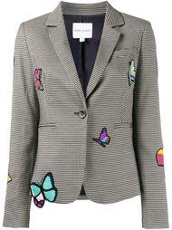 пиджак в ломаную клетку с нашивками бабочек Mira Mikati