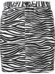 джинсовая юбка с зебровым принтом Saint Laurent