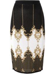 юбка-карандаш с барочным узором Balmain