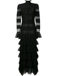 вечернее платье с отделкой кружевом и оборками Alexander McQueen
