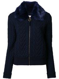 fur collar knit jacket Tory Burch