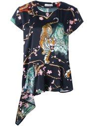 blossom print asymmetric blouse Paco Rabanne