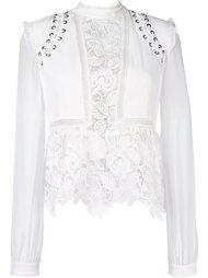lace up sleeve blouse Self-Portrait