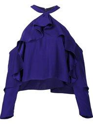 ruffled cold shoulder blouse  Jay Godfrey