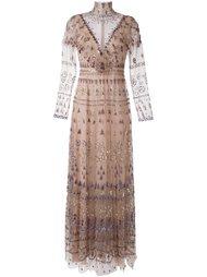 декорированное вечернее платье из тюля с оборками Valentino