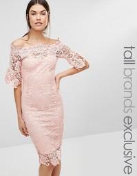 Кружевное платье‑футляр с широким вырезом Paper Dolls Tall - Розовый