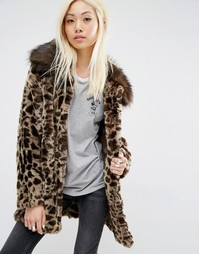 Unreal Fur Faux Fur Leopard Coat - Коричневый