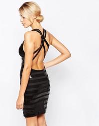 Полосатое платье мини с отделкой пайетками City Goddess - Черный
